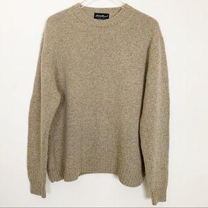 Eddie Bauer Lambswool Crewneck Sweater, Tan, Large